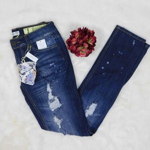 Skinny Destructed Jeans Indigo Rein Denim Sz 3 NWT